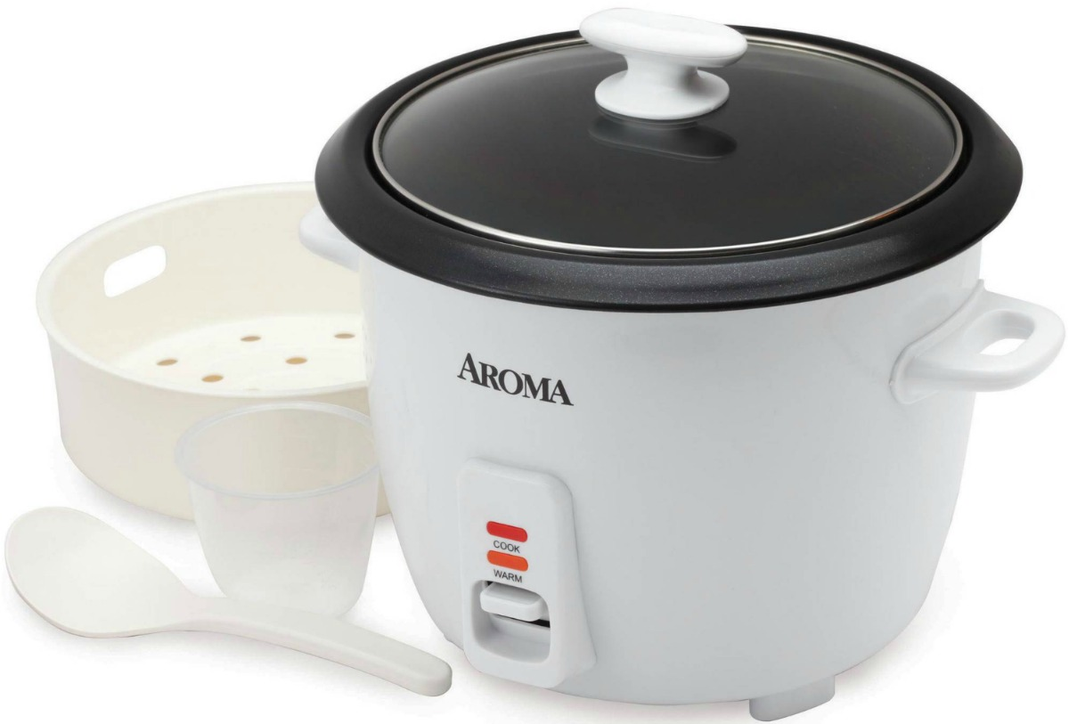 Small rice cooking appliance near accessories