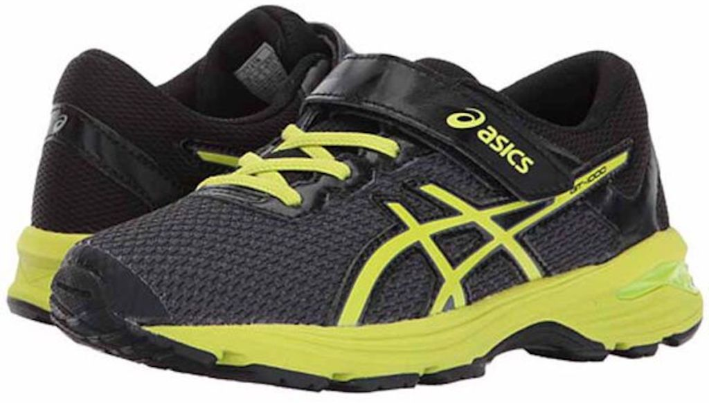 black and neon yellow Asics Kids' GT-1000 Pre-School Running Shoes