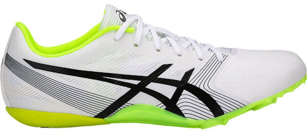 white, black, grey, and neon green Asics Men's Hyper Sprint 6 Track Spikes