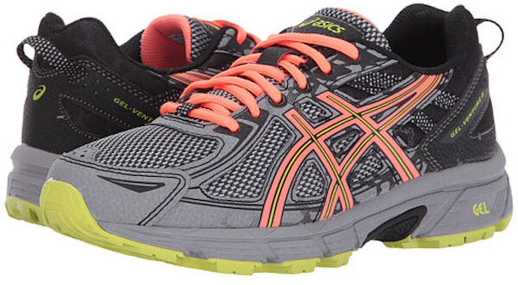 grey, orange, black and yellow Asics Women's Gel-Venture 6 Trail Running Shoes D Width