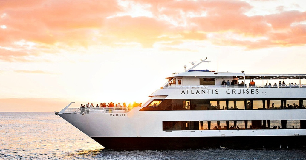 Atlantis Cruises ship at sunset