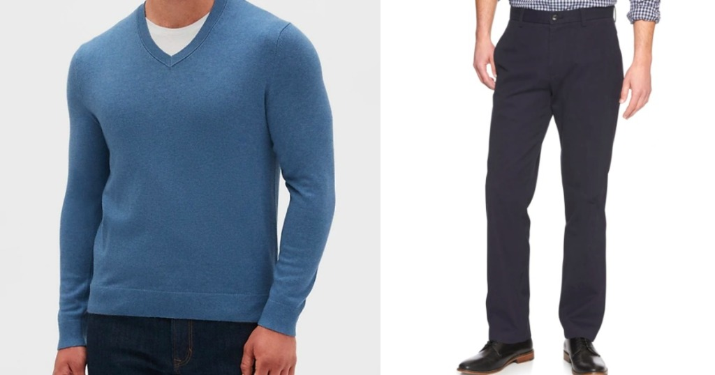 man wearing a sweater and a mans pair of pants