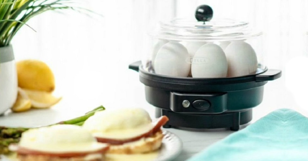 egg cooker next to breakfast sandwiches