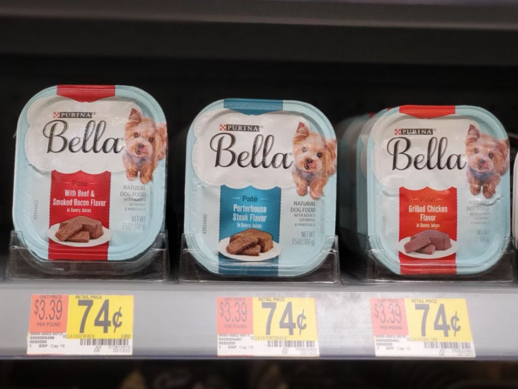 shelf at walmart with Bella Wet Dog Food Containers