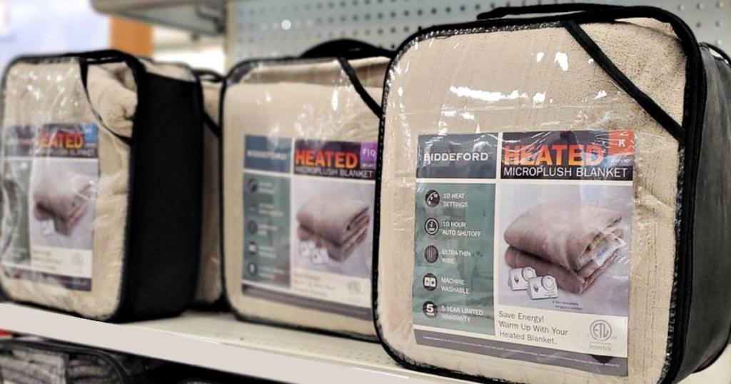 Biddeford Microplush Heated Blankets on shelf