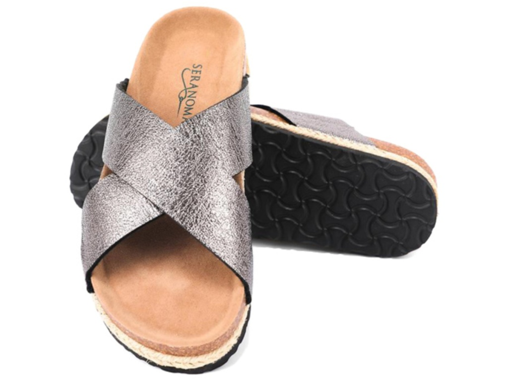 women's silver metallic strap sandal