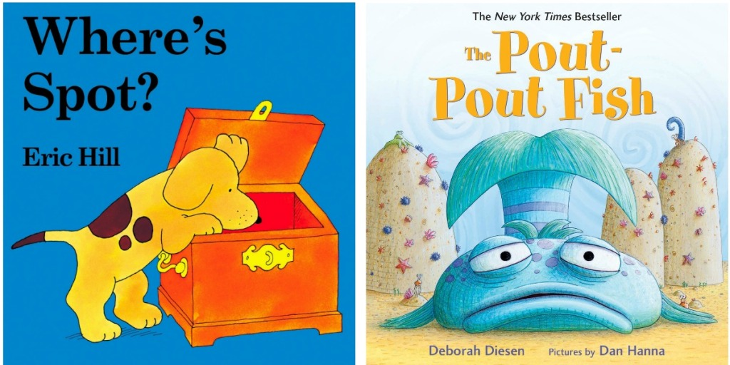 Two front covers of board books for kids