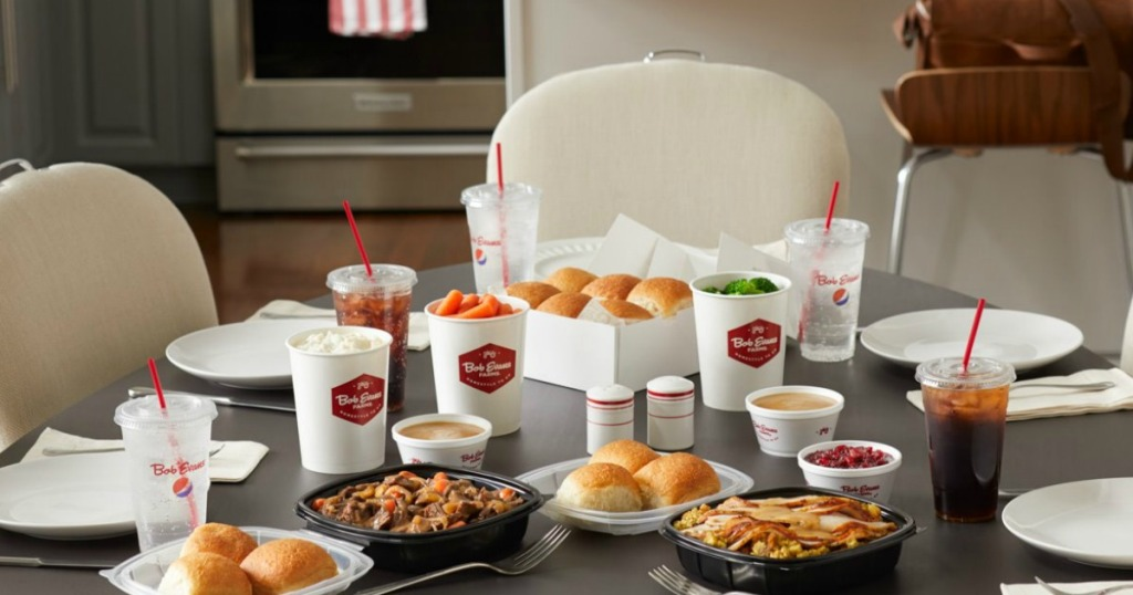 Bob Evans family style takeout meal on dining table
