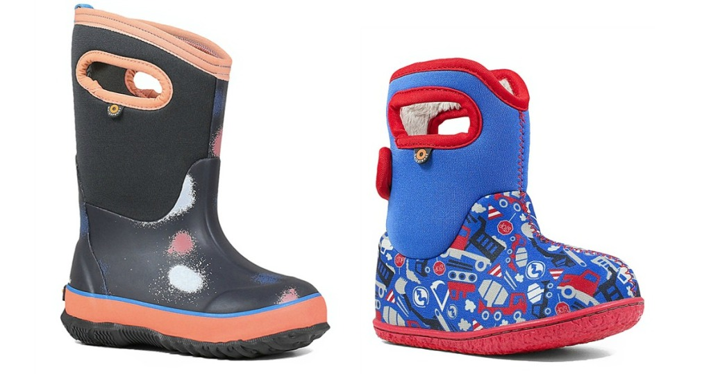 two pairs of colorful boots
