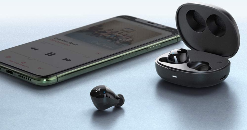 pair of Boltune Bluetooth Wireless Earbuds with charging case and iphone