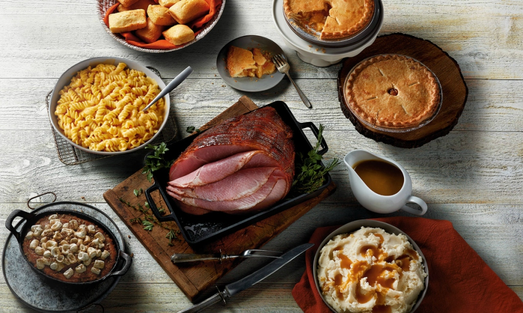 Easter ham and sides on table