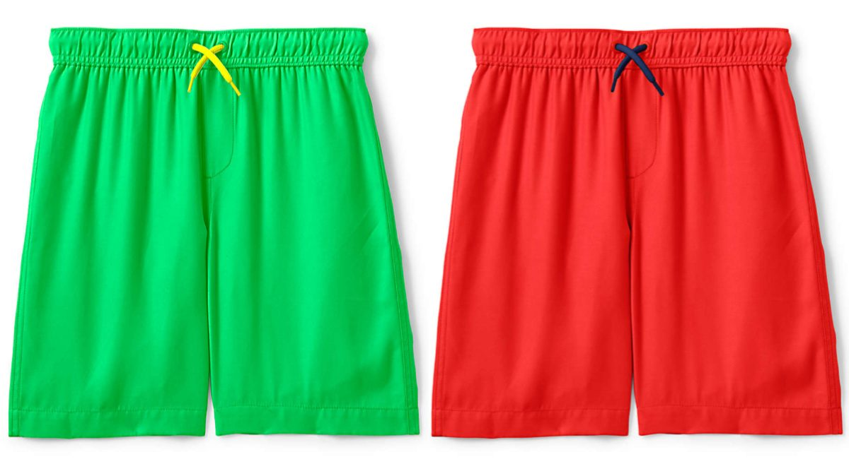green and red boys swim trunks