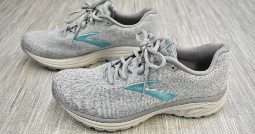 grey and teal women's running shoes