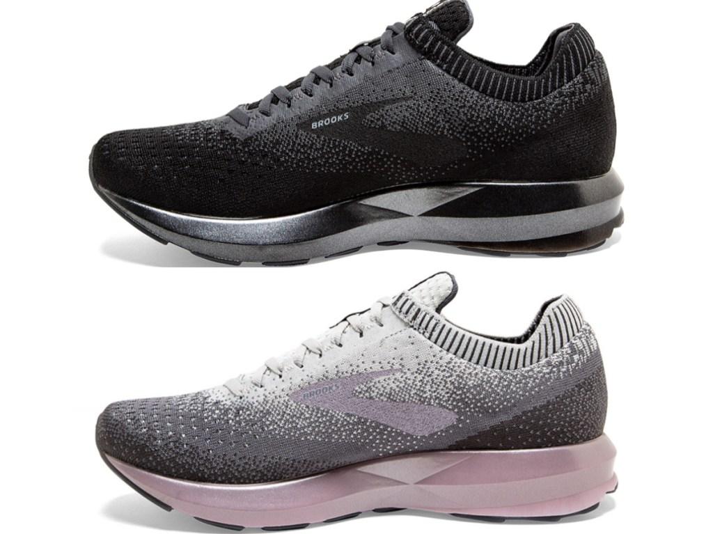 women's black running shoe and women's pink and gray running shoe