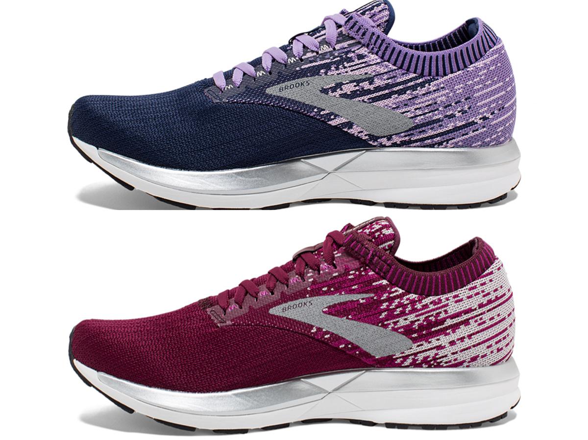 women's purple and blue running shoe and maroon running shoe
