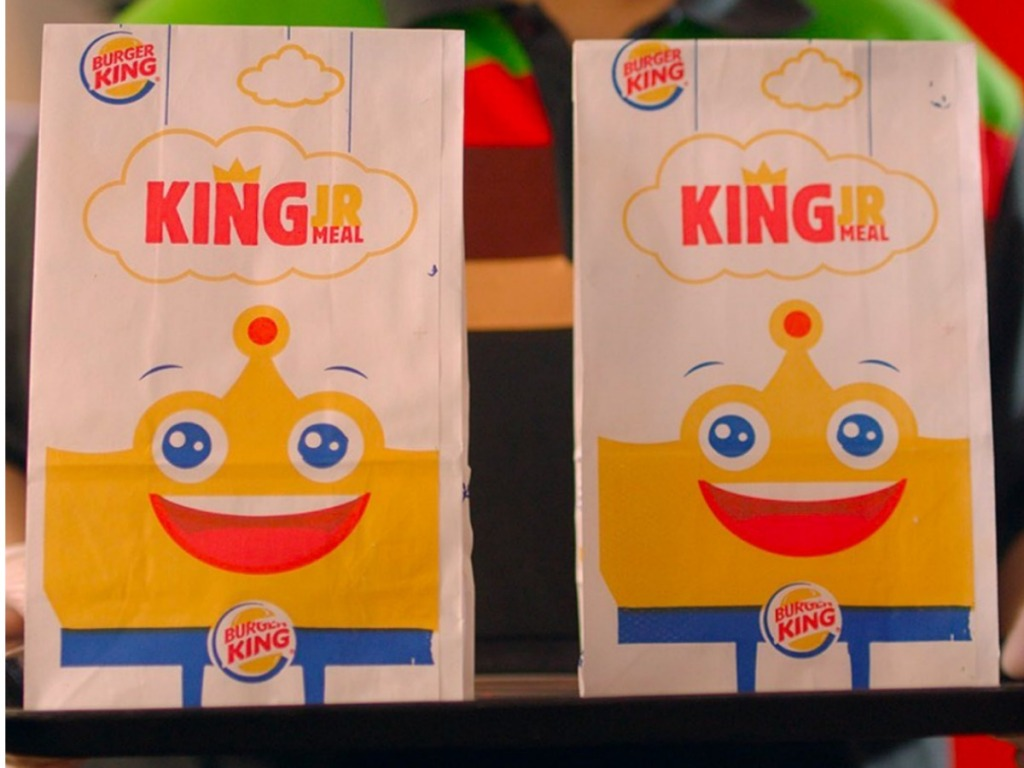 Burger King Kids Meals in bags on tray