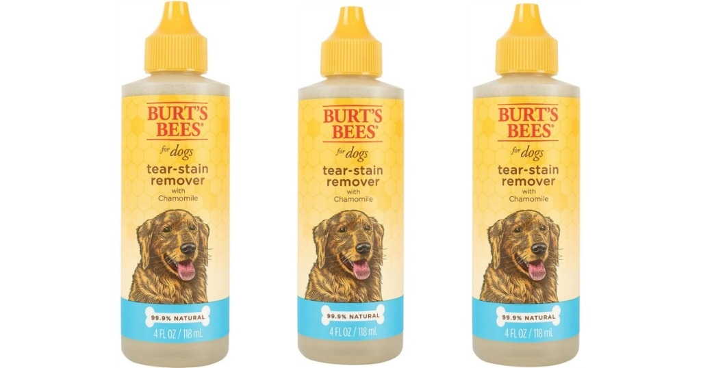 Burt's Bees Tear-Stain remover bottles lined up in a row