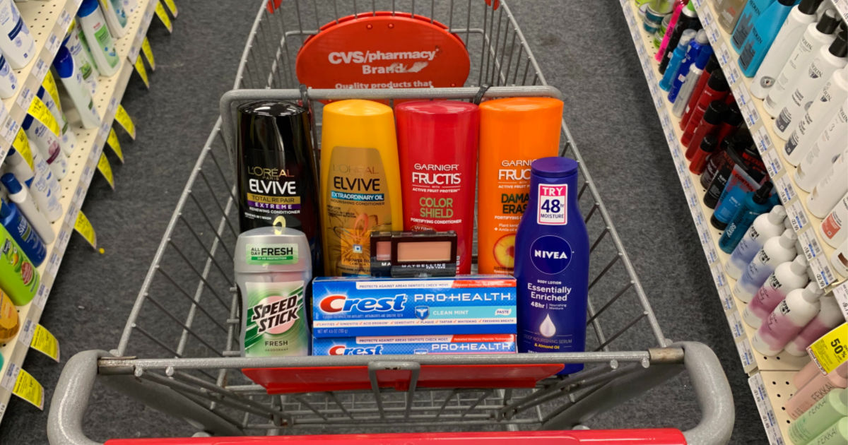 Personal care products in basket at CVS
