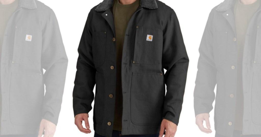 man in black chore coat