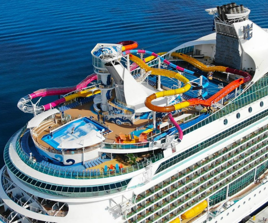 Large s=cruise ship top deck with slides and activities