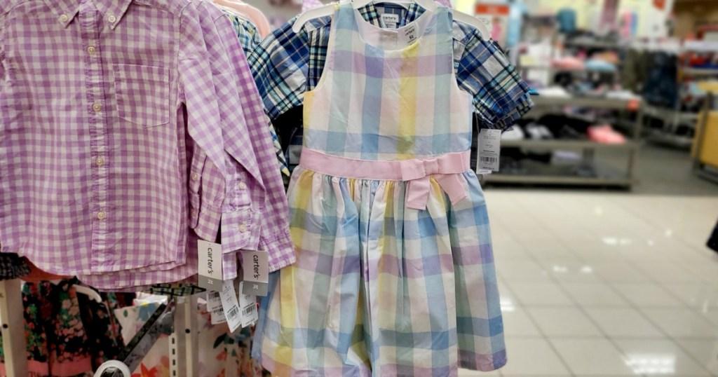 Girls dress in pastel plaid