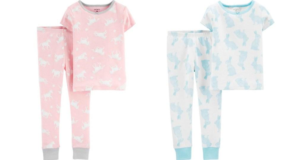 two sets of kids pajamas