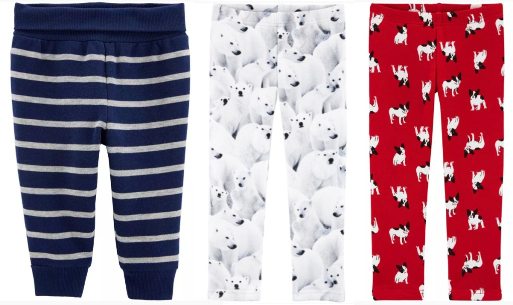 blue stripe, white polar bears, and red french bull dog pants