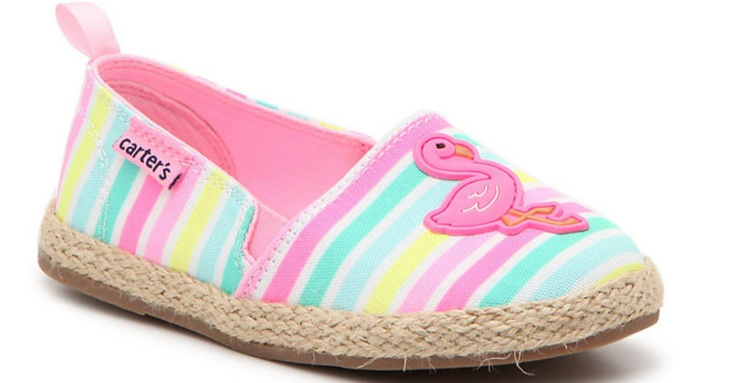 rainbow colored shoe with flamingo on the top