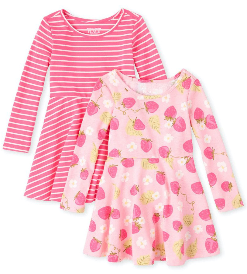 pink stripe and strawberry printed carter's dresses
