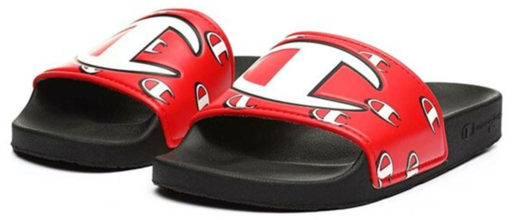 men's black and red logo slide sandals
