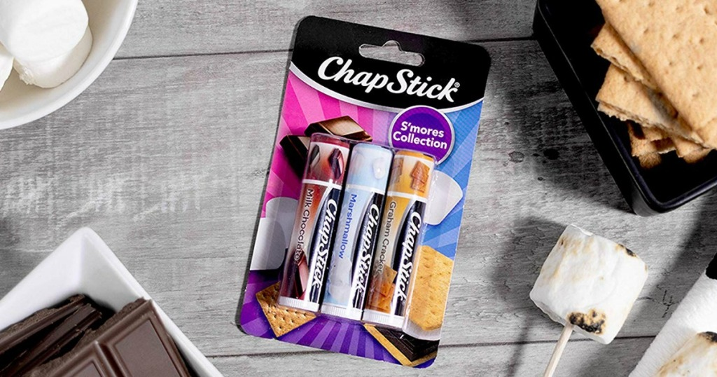 ChapStick S'Mores collection on table by s'mores