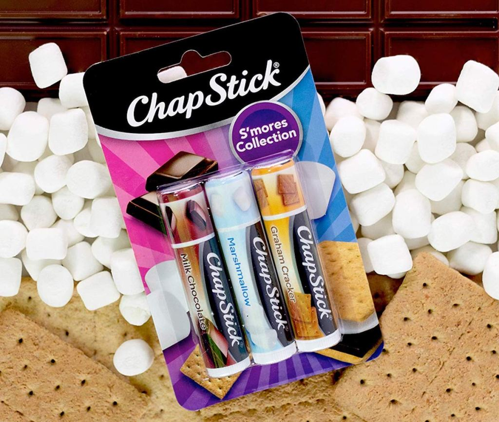ChapStick S'mores next to s'mores ingredients
