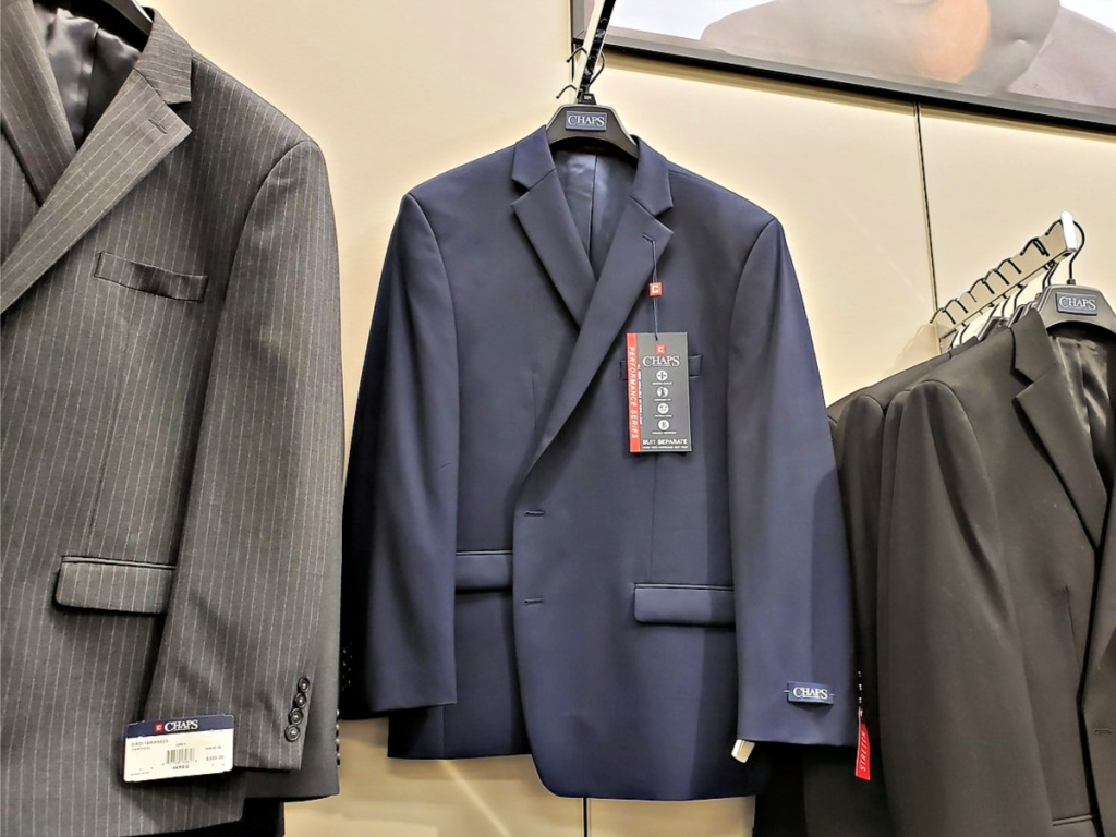Chaps suits on hanger in Kohl's
