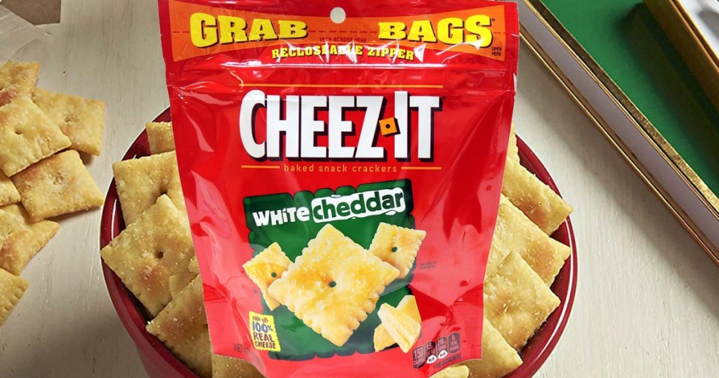 Large bag of crackers near bowl