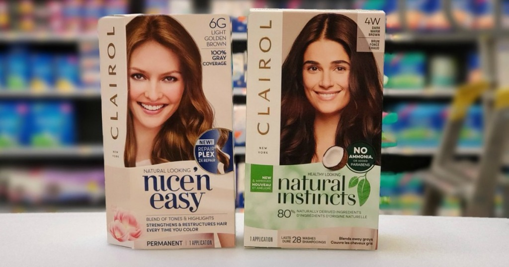 two boxes of Clairol Hair Colors on counter