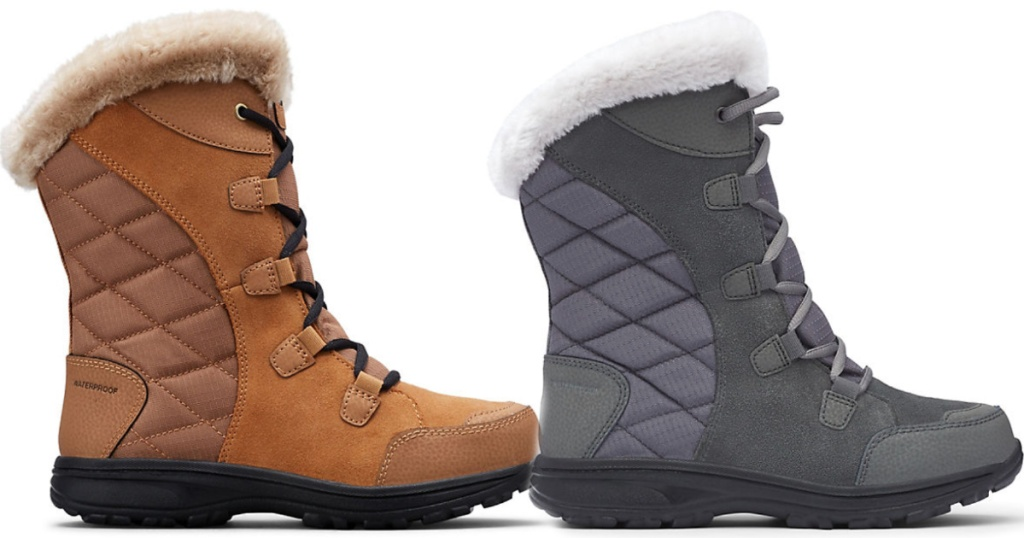 women's Columbia Ice Maiden II Boot in grey and brown