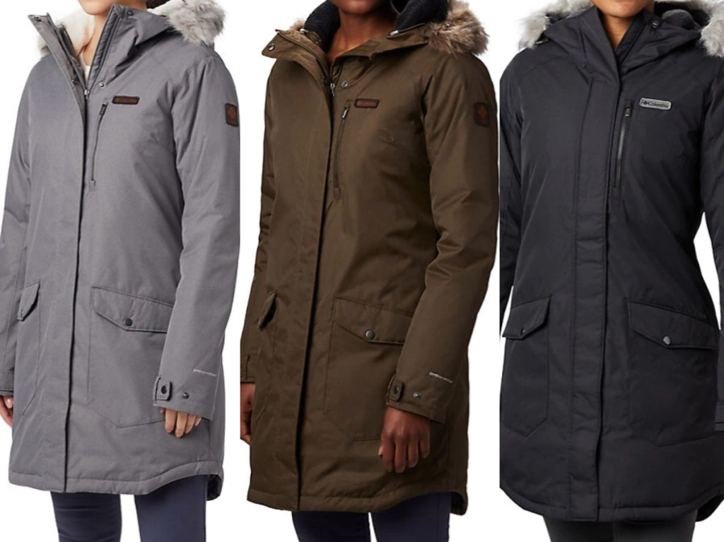 women in grey, olive, and black long winter jackets