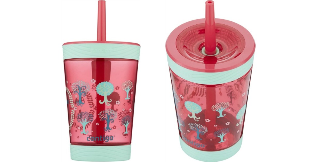front and top view of a pink tumbler