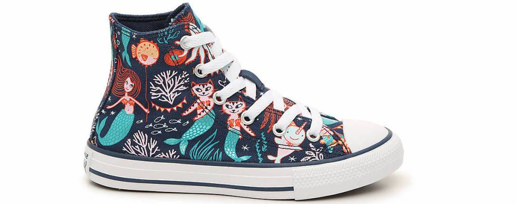 sneaker with mermaids and cats on it