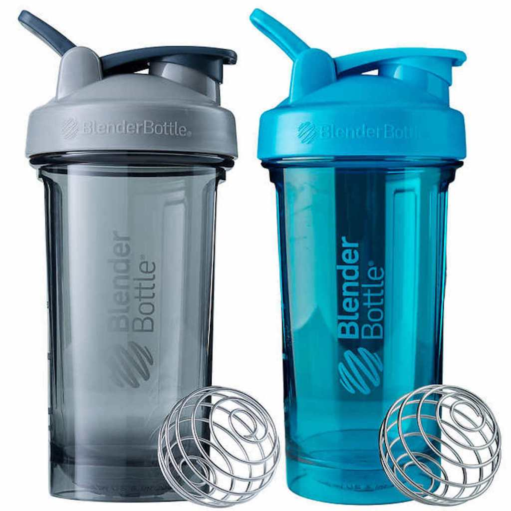 grey and blue blender bottle 2 pack