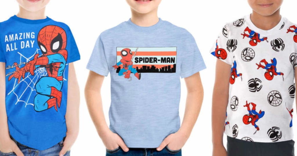 Little boys wearing marvel spiderman t-shirts