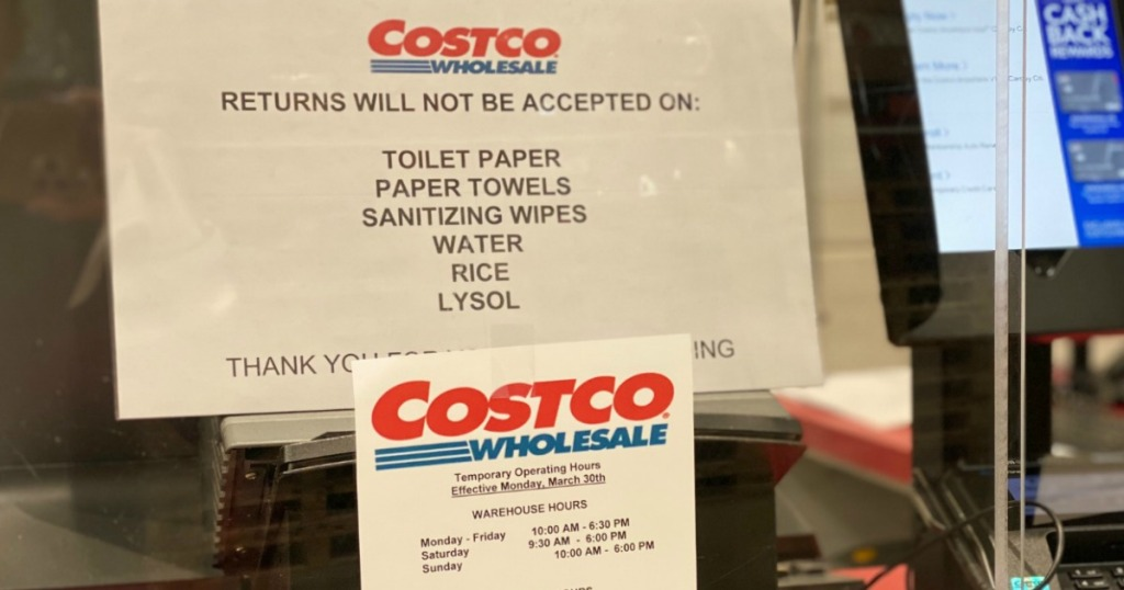Costco Returns Signage in warehouse