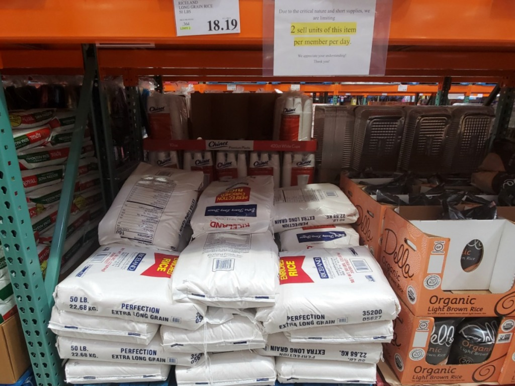 Bags of rice at Costco