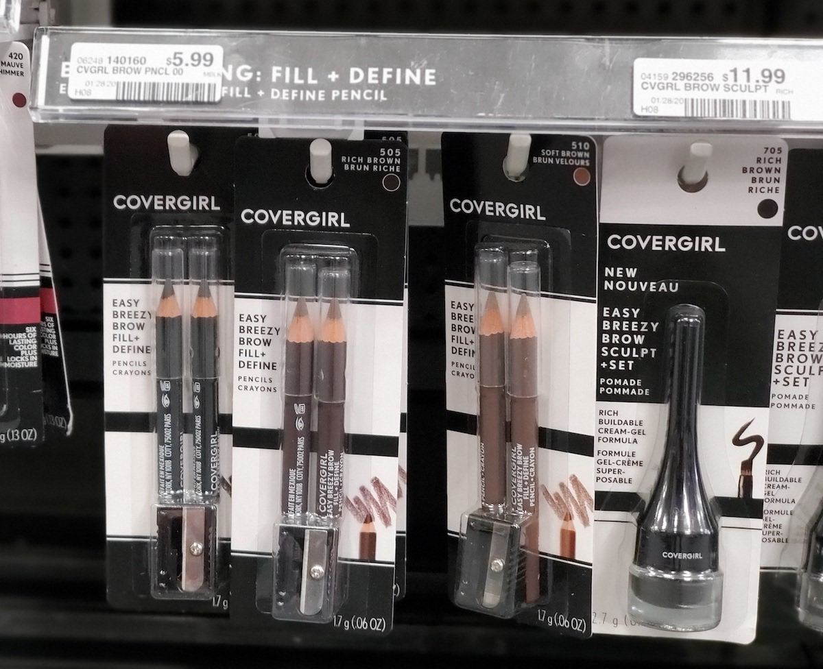 CoverGirl Brow Pencils hanging on racks at a store