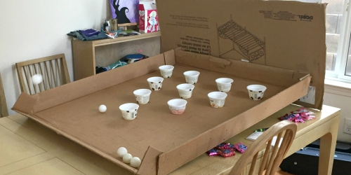 Have Bored Kids? This Reader Made a DIY Ping Pong Game Using Items From the Recycling Bin!