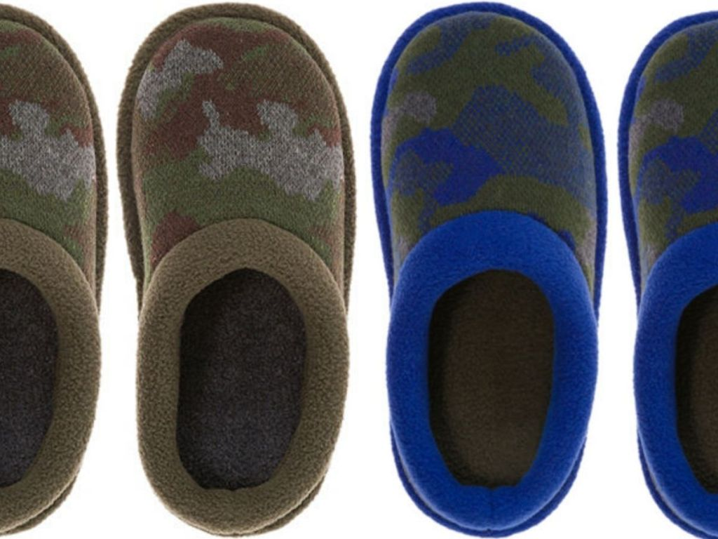 four top down views of boys slippers