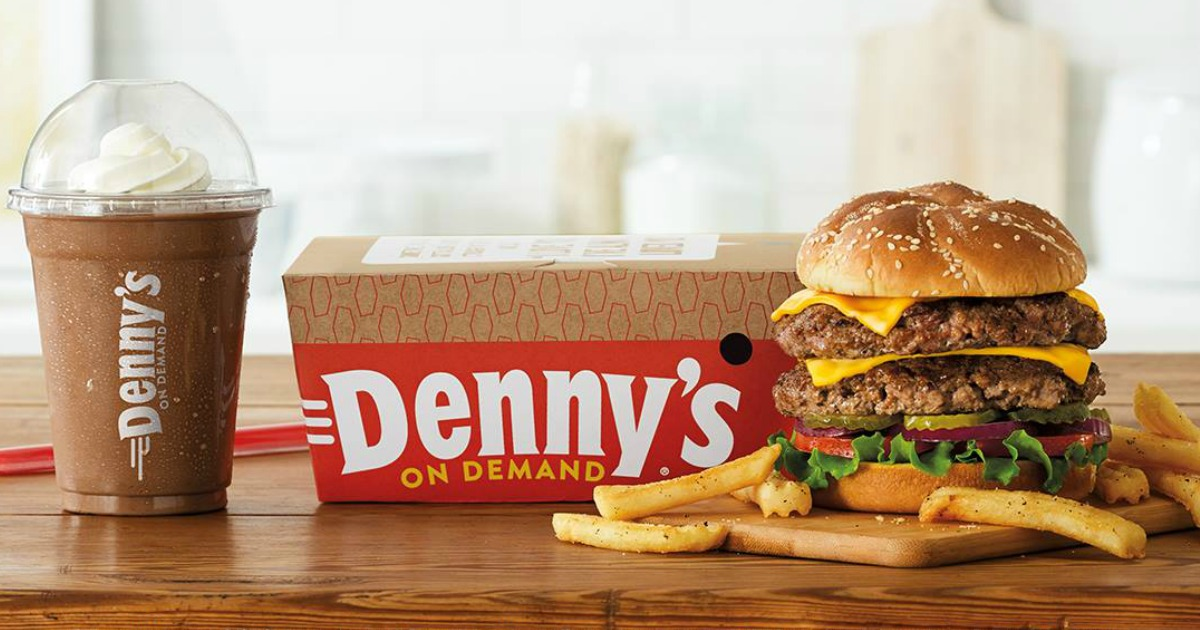 Burger and Shake from to-go at Denny's