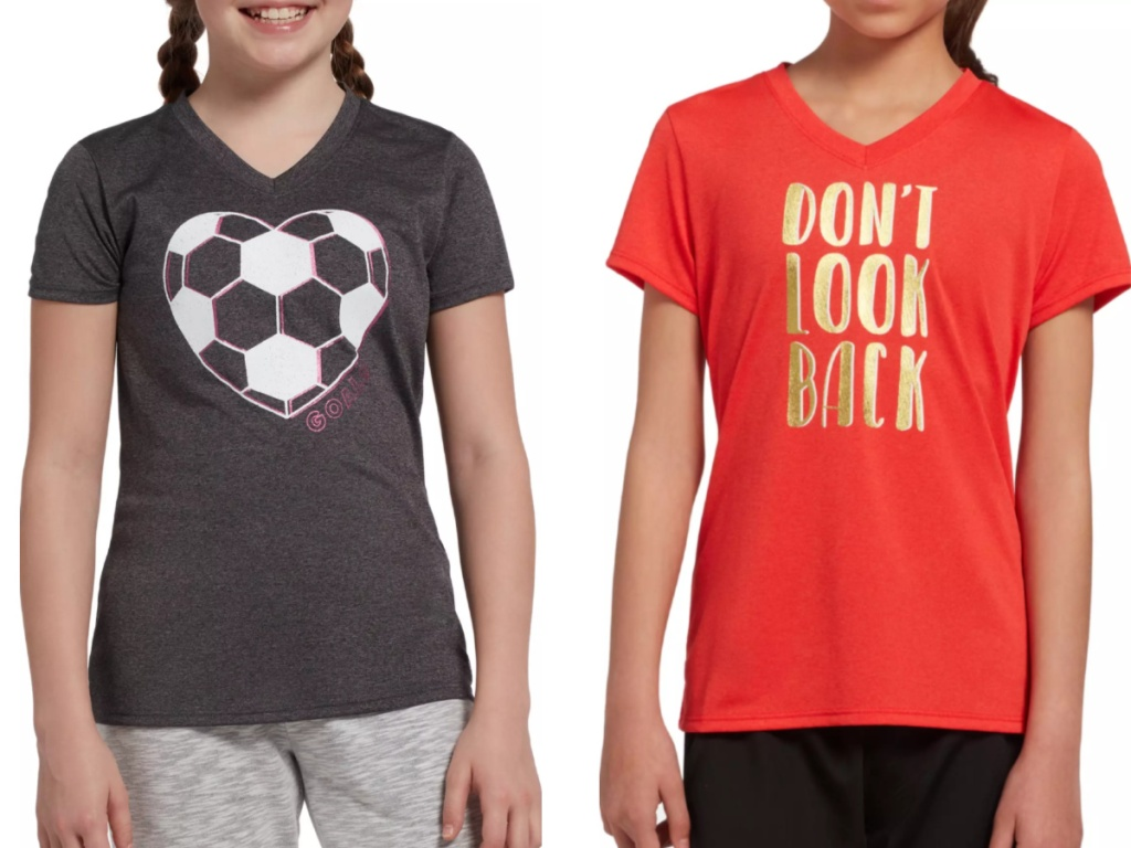 Girls wearing Dicks Sporting Goods T-shirts