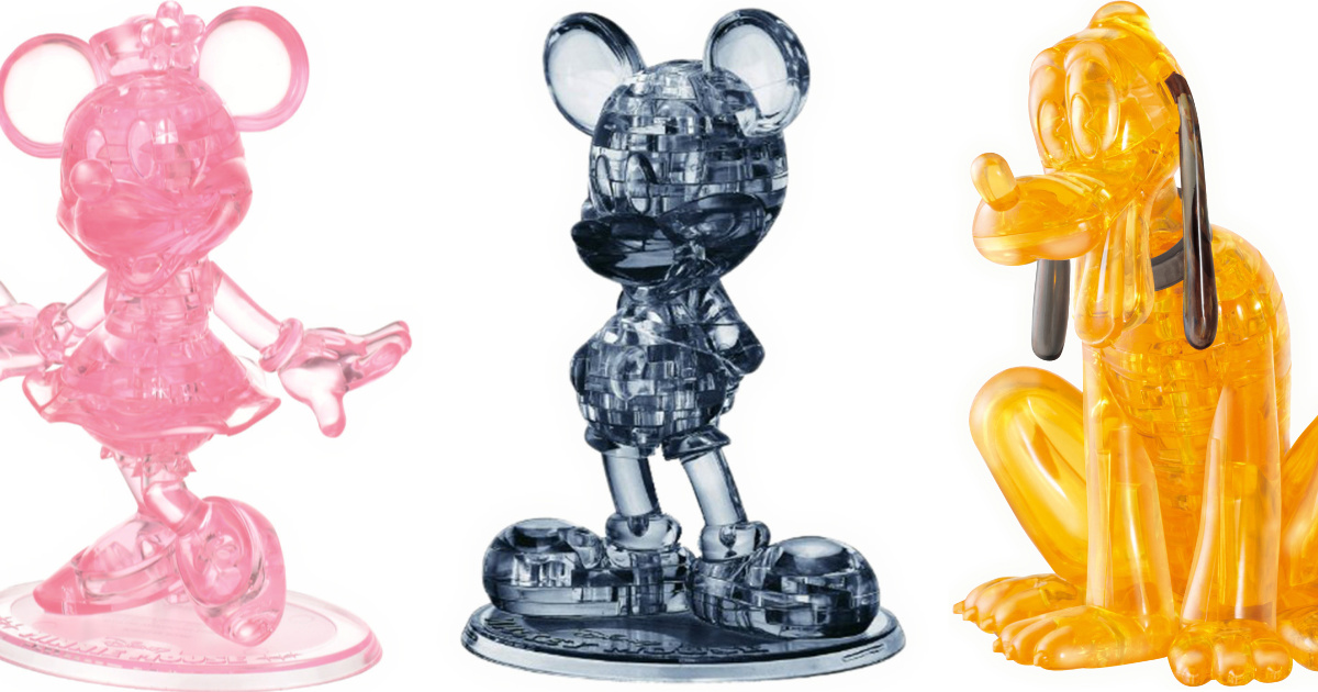minnie, mickey and pluto crystal figures