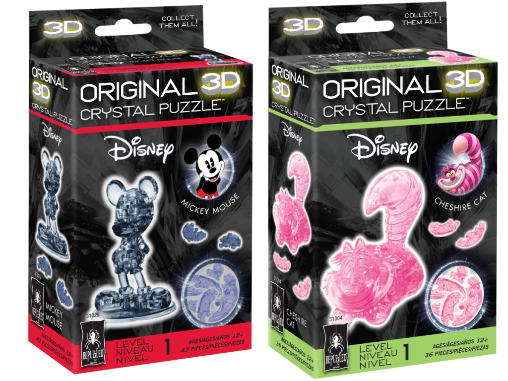 mickey and Cheshire cat 3d crystal puzzles